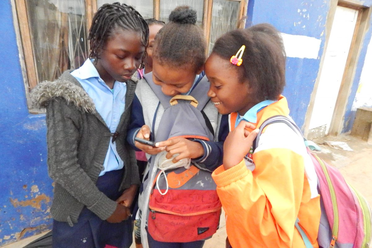 Children during the participatory walks, each group was accompanied by an adult ensure a safe smooth process.