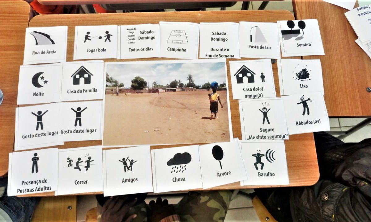 Children selected matching pictograms to describe the spaces they use as a soccer field in their neighbourhood.